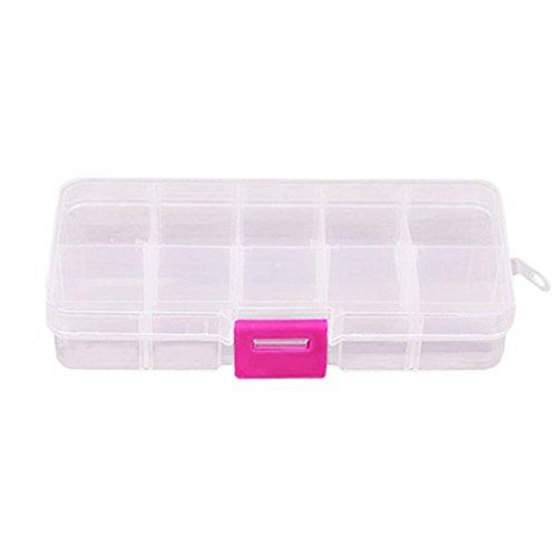 Muranba 10 Grids Adjustable Jewelry Beads Pills Nail Art Storage Box Case White