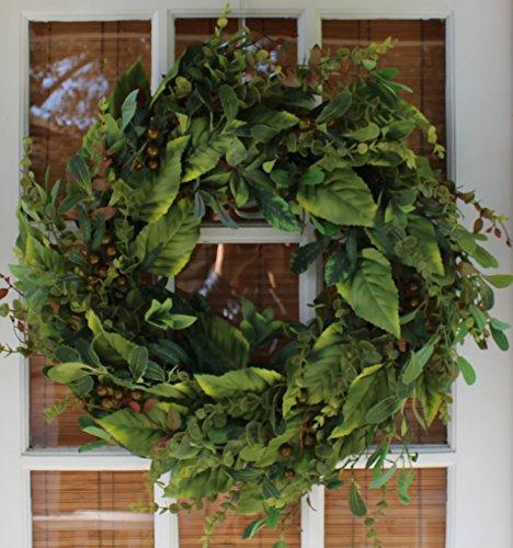 Wintonbury Flora Silk Door Wreath- 22 in- Handcrafted Full Wreath - White Storage Box- For Year Round Front Door Wreath Display- The Wreath Depot