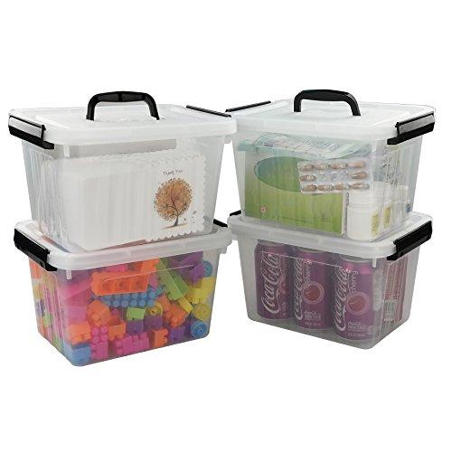 Kekow 8 Quart Clear Storage Latch Box 4-pack