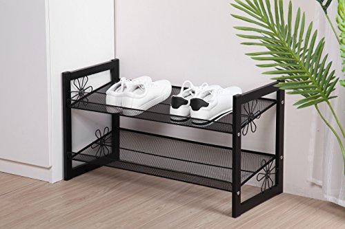 Floral Design Stackable Metal Shoe Rack Mesh Utility Shoes Storage Organizer Shelf for Closet Bedroom and Entryway 2-Tier Black