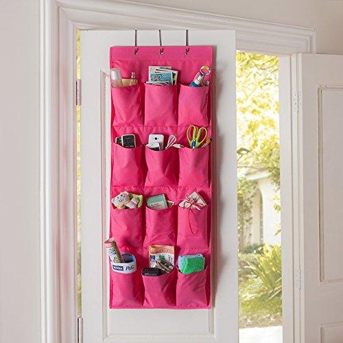 12 Pocket Hanging Door Holder Storage Organizer Cala Qute Closet Shoe Hanger Organiser Box Hot Pink