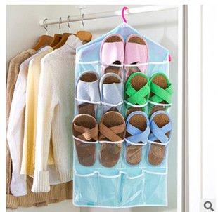 16 Pockets Hanging Over Door Wall Sock Baby Shoe Organiser Storage Tidy Rack Space Savernot Included Hanger
