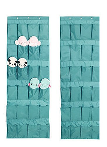 24 Pockets Over the Door Shoe Organizer Tidy Closet Wall Hanging Storage Bag Bedroom Home Space Saver Caddy Organiser Unit Rack Shelf Holders Household Wardrobe Accessory With 3 Hooks Lake Blue