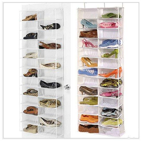26 Pairs Over Door Hanging Shoe Organiser Storage Rack Shelf Holder Stand White