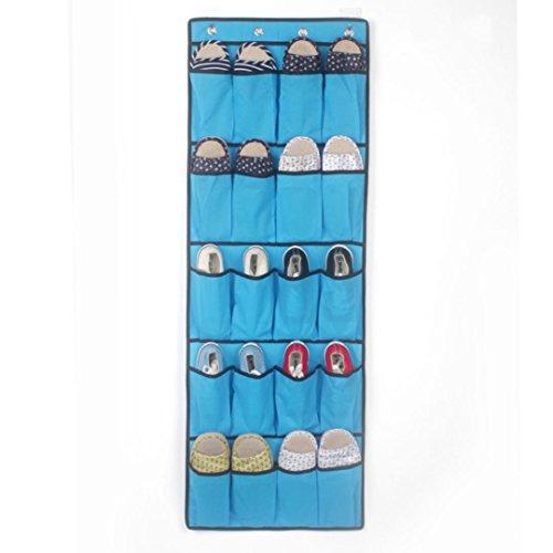 BinmerTM 20 Pockets Hanging Over Door Shoe Organiser Storage Rack Bag Box Wardrobe Hook Blue