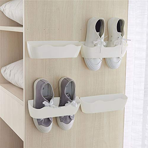Yocice Wall Mounted Shoes Rack 4pcs with Sticky Hanging Strips Plastic Shoes Holder Storage OrganizerDoor Shoe Hangers White- SM024PCS