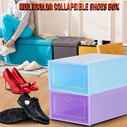 Jesaisque 2PC Foldable Clear Shoes Storage Box Plastic Stackable Shoe for Closet Organizer I 23X14X35CM