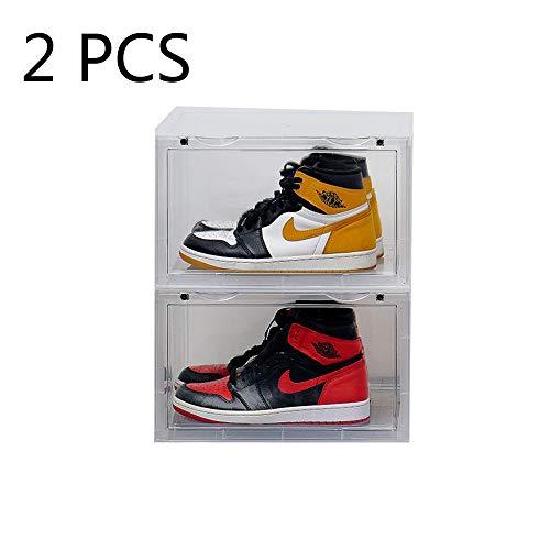 KTZ Magnetic Side Open Transparent Plastic Storage Shoe Box Stackable Foldable Storage Shoe Box Sneaker Storage Box Clear Plastic Shoe Boxes Size142X11X87 Inch D Style Transparent 2 PCS