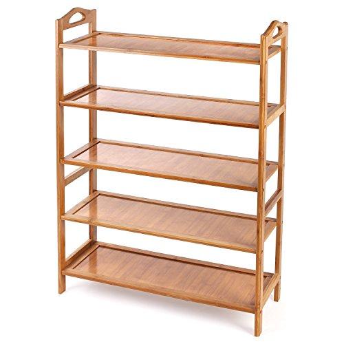HOMFA Bamboo Shoe Rack 5-Tier Entryway Shoe Shelf Storage Organizer Free Standing Shelves