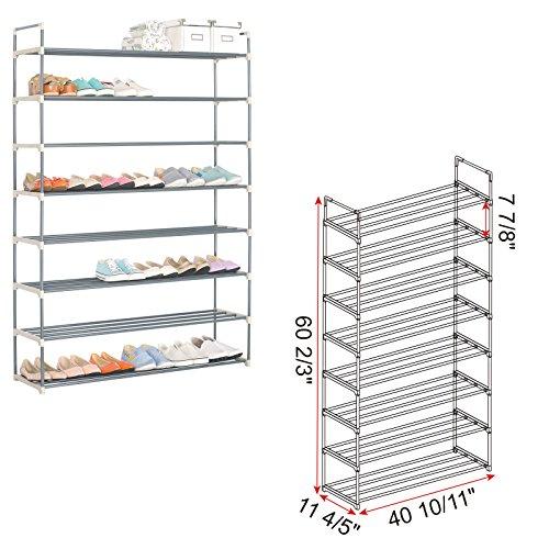 WOLTU 48 Pairs Steel Shoe Rack Organizer Storage Stackable Shelves Grey