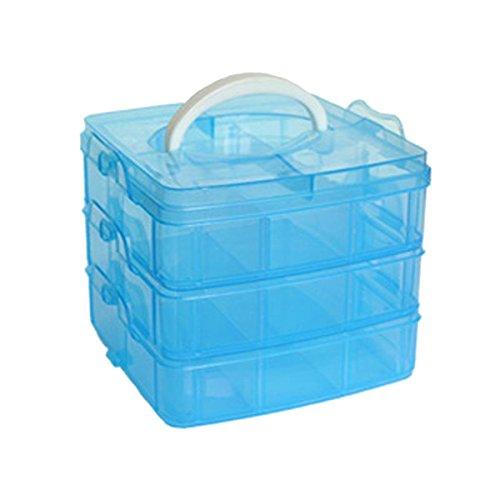 ECYC Detachable DIY Storage Box 3-Layers Clear Plastic Beads Jewelry Organizer Holder CabinetsBlue