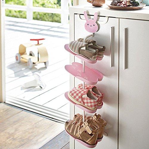 yazi Cute Animal Kids Shoe Rack Over the Door Boots Organizer Hanging Holder