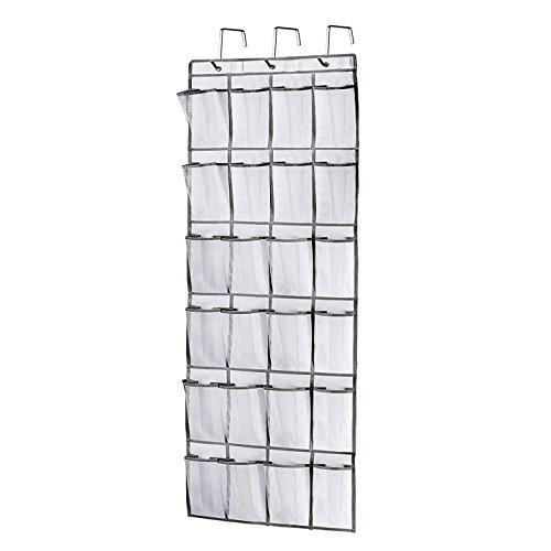 Brotrade 24 Mesh Pockets Over the Door Hanging Shoe OrganizerHeavy Duty Door Shoe Rack with 3 Steel Door Hooks White