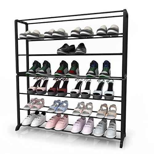Homdox 7 Tiers Shoe Rack Storage Organizer Cabniet for Bedroom Entryway Walkway 35 Pairs Black