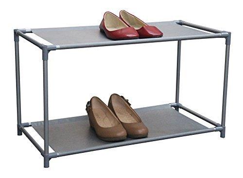 Home Basics 2 Tier Coated Non-Woven Shoe Rack Organizer