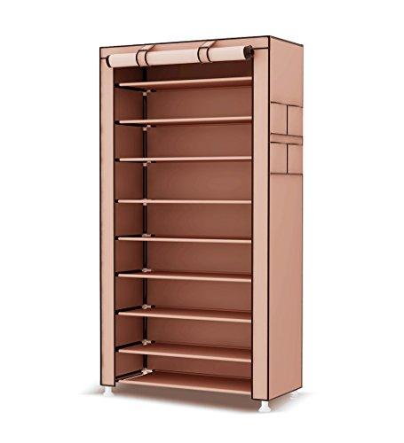 UDEAR 10 Tier Shoe Rack with Dustproof Cover Shoe Shelf Storage Organizer Dark Brown