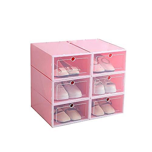 DYSD SL Sizes 12 Pcs Pink Plastic Clear Stackable Shoe Storage Boxes Foldable ShoesS