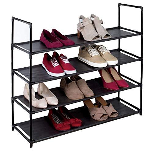J&V TEXTILES Stackable Shoe Storage and Organizer Racks 4-Tier 6-Tier Over The Door or Stackable Black 4-Tier