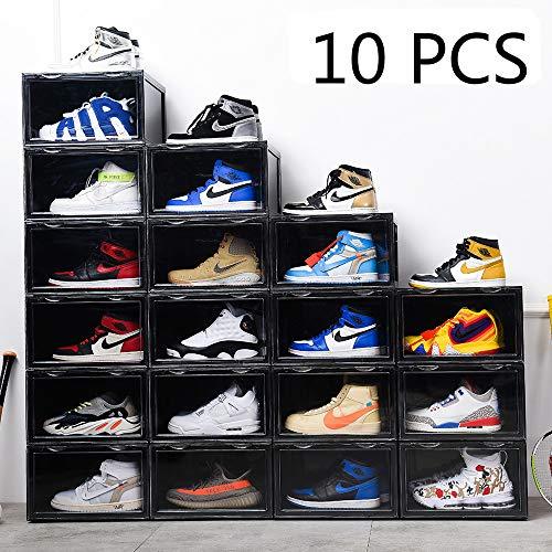 KTZ Magnetic Side Open Transparent Plastic Storage Shoe Box Stackable Foldable Storage Shoe Box Sneaker Storage Box Clear Plastic Shoe Boxes Size142X11X87 Inch Black 10 PCS