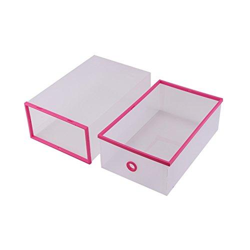 Yosoo 5-Pack Transparent Stackable Shoe Storage Boxes Multifunction Plastic Foldable Shoe Boxes Storage Organiser DIY Shoe Drawers Home Storage 11x8x5 Pink