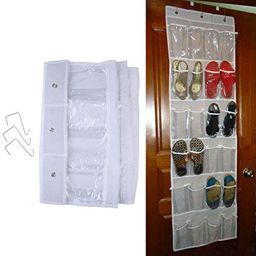 Jocestyle 24 Clear Pocket Over the Door Shoe Organizer Hanging Storage Rack Bag with Hooks