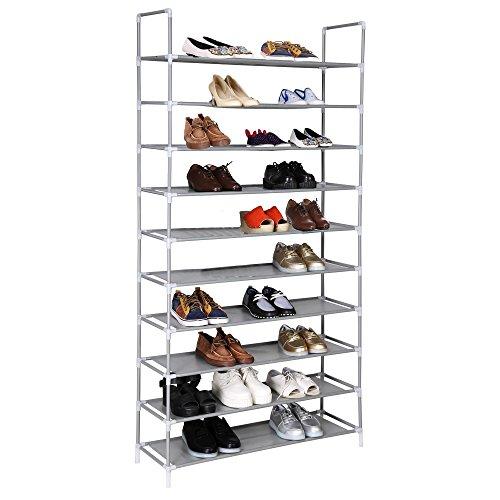 Fashine Shoe Rack 30 Pair 10 Tiers Adjustable Shoe Shelf Stand Storage Organizer