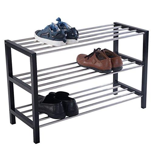 Fashion 3 Tier Shoe Rack Shelf Storage Organizer Holder Pair Stand Tower Closet Black
