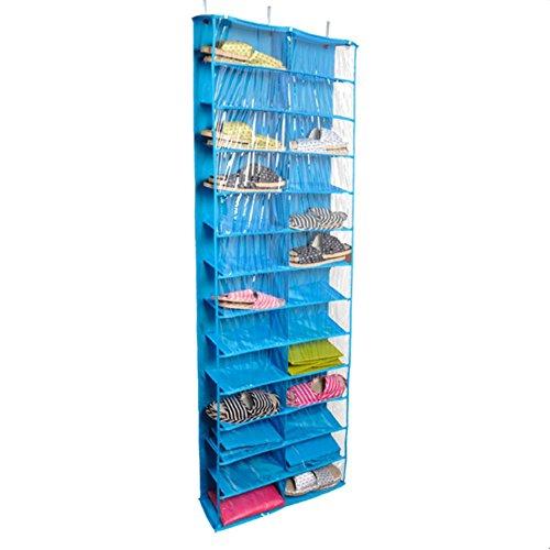 Hanging Shoe Organizer Over the Door 26 -Pocket Shoe Rack Shelf Hanger Holder Storage Bag Blue Shoe Shelves
