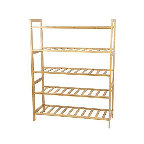Smart-Home 5 Tiers Bamboo Free Standing Entryway Shoe Rack Shelf Storage 2675L x 3537W x 1025H