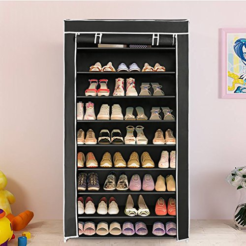 Blissun 10 Tiers Shoe Rack Shoe Storage Organizer Cabinet Tower with Nonwoven Fabric cover  Black