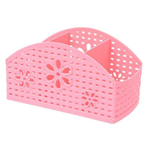 Ozzptuu 3 Compartments Plastic Hollow Desktop Storage Box Organizer Multifunction Desk Storage Boxes Container Pink