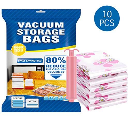 NiDream Bedding Reusable Space Saver Bags 2 x Jumbo 2 x Large 2 x Medium 4 x Small Premium Vacuum Seal Storage Bags with Travel Hand Pump Save 80 More Storage Space