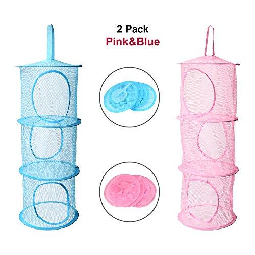 Adaman Hanging Mesh Toy Storage Organizer - Space Saving Storage bags 3 Compartments Pink&Blue