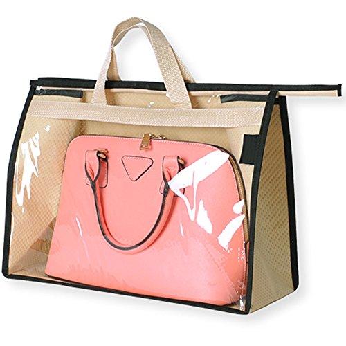 OLizee Stylish Handbags Closet Space-saving Storage Bag Organizer Purse Holder PVC Dustproof Bag with Zipper and HandlePinkS