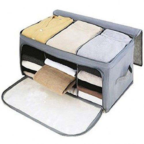 BESTOMZ Bamboo Charcoal Clothes Storage Bag Zipper Handles Quilt Bedding Garment Storage Bag Organizer Grey