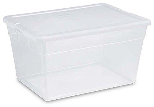 Sterilite 16558008 Lidded 56 Quart Clear Bin Home Storage Box Tote Container