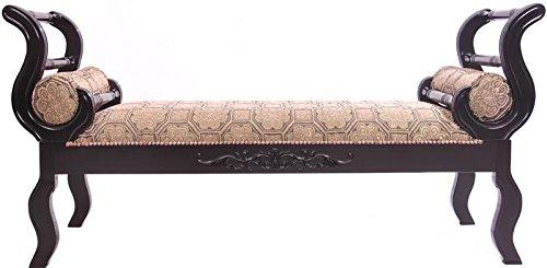 Capstone Bay Asuka Espresso Upholstered Indoor Bench Geometric Design