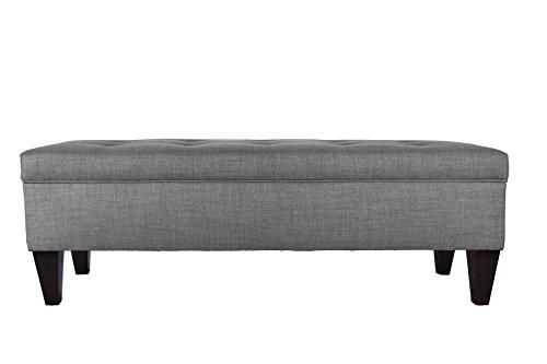 MJL Furniture Designs Brooke Collection Button Tufted Upholstered Long Bedroom Storage Bench HJM100 Series Dark Gray