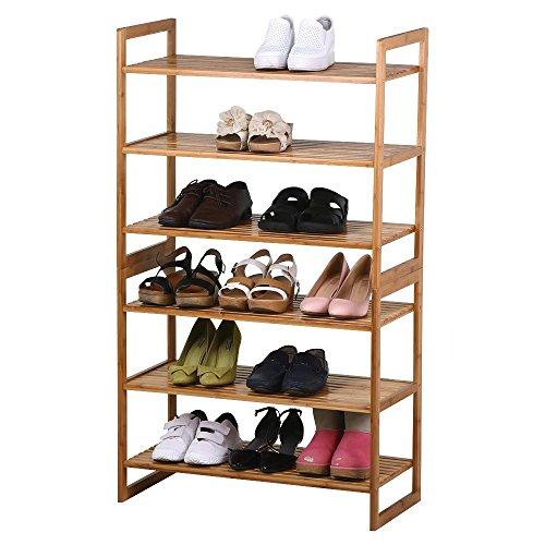 Topeakmart Bamboo Shoe rack Natural 6-Tier Entryway Shoe Shelf Storage Organizer