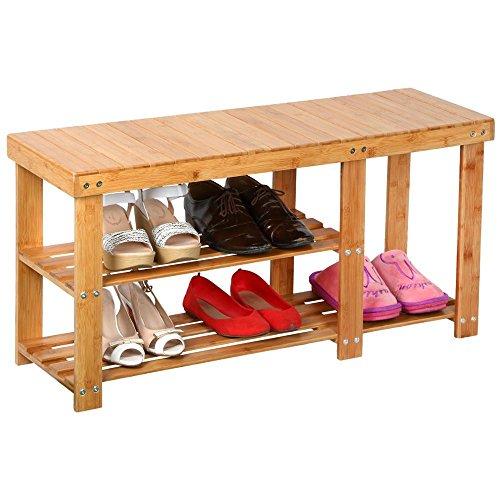 Topeakmart Shoe Bench 2-Tier Shoe Rack Entryway Shoe Storage Oraganizer Bamboo Finish