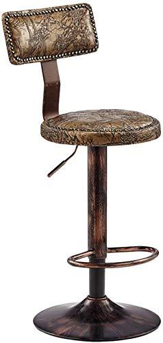 QTQZDD Decorative Bench Retro bar stools LOFT Beauty Bench Armchair Threaded Steel Bench Lift high Bench Swivel Computer Chair Hairdressing Bench Household Lift Height 53 75 cm