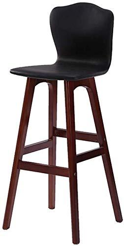 QTQZDD Decorative Bench Wood Barstool Creative Coffee Shop Bar Stool Dining Chair Front Desk Chair high backrest Chair Bar Chair Sitting Height 74 cm Black