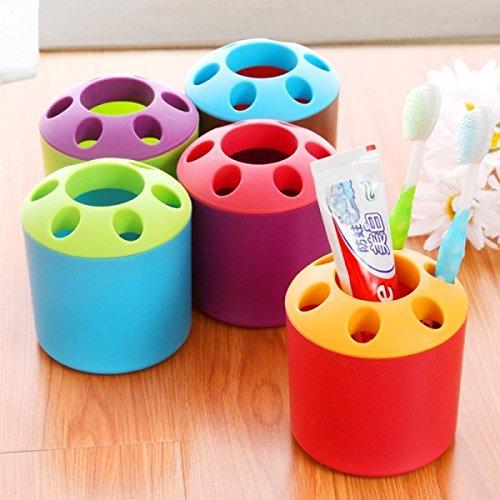 Creative Porous Tube of Toothpaste Couple Toothbrush Holder Multifunction Storage Box Plastic Organizer Box ColorRed