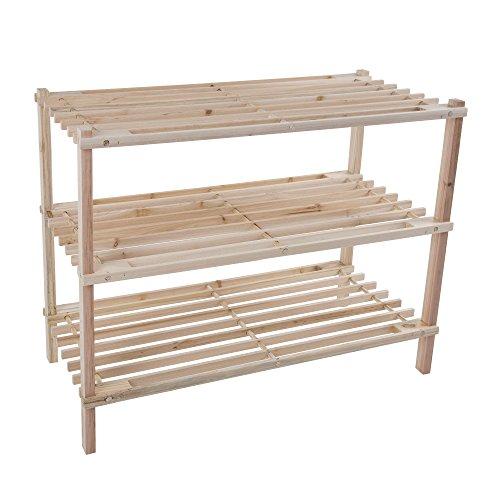 Wood Shoe Rack Storage Bench – Closet Bathroom Kitchen Entry Organizer 3-Tier Space Saver Shoe Rack by Lavish Home