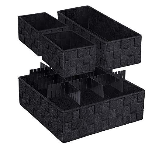 LEAVINSKY Woven Box Nylon Storage Bin Nylon Storage Basket Black Woven Basket Black Woven Storage Box Container Underwear Socks Bra Organizer Divider for Drawer Woven Basket Set of 4 Black