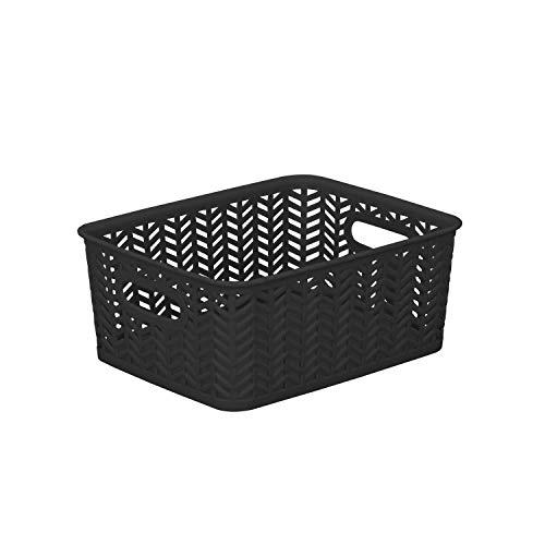 Simplify SmallHerringbone Bin in Black Storage Basket