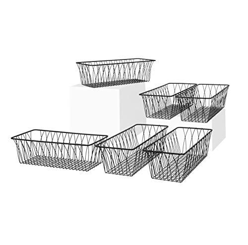 Spectrum Diversified Twist Rectangular Pet Toy Office Dorm Storage Bin Organizer Wire Basket Small Pack of 6 Black