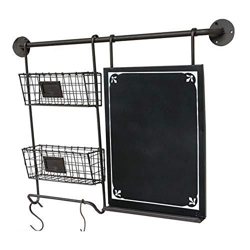WZH Floating Wall Shelves Retro Iron Art Multifunction Blackboard Storage Basket Cafe Display Stand Color  Black Size  765X10X56CM
