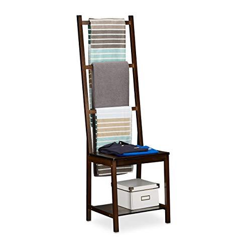 Relaxdays Towel Holder Clothes Stand Towel Rack Valet Butler Bathroom Chair Bamboo HxWxD ca 133 x 40 x 42 cm Dark Brown
