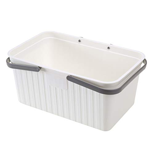 Yardwe Bathroom Storage Basket with Handle Plastic Storage Organizer Basket Laundry Basket for Bathroom Health and Beauty Products White